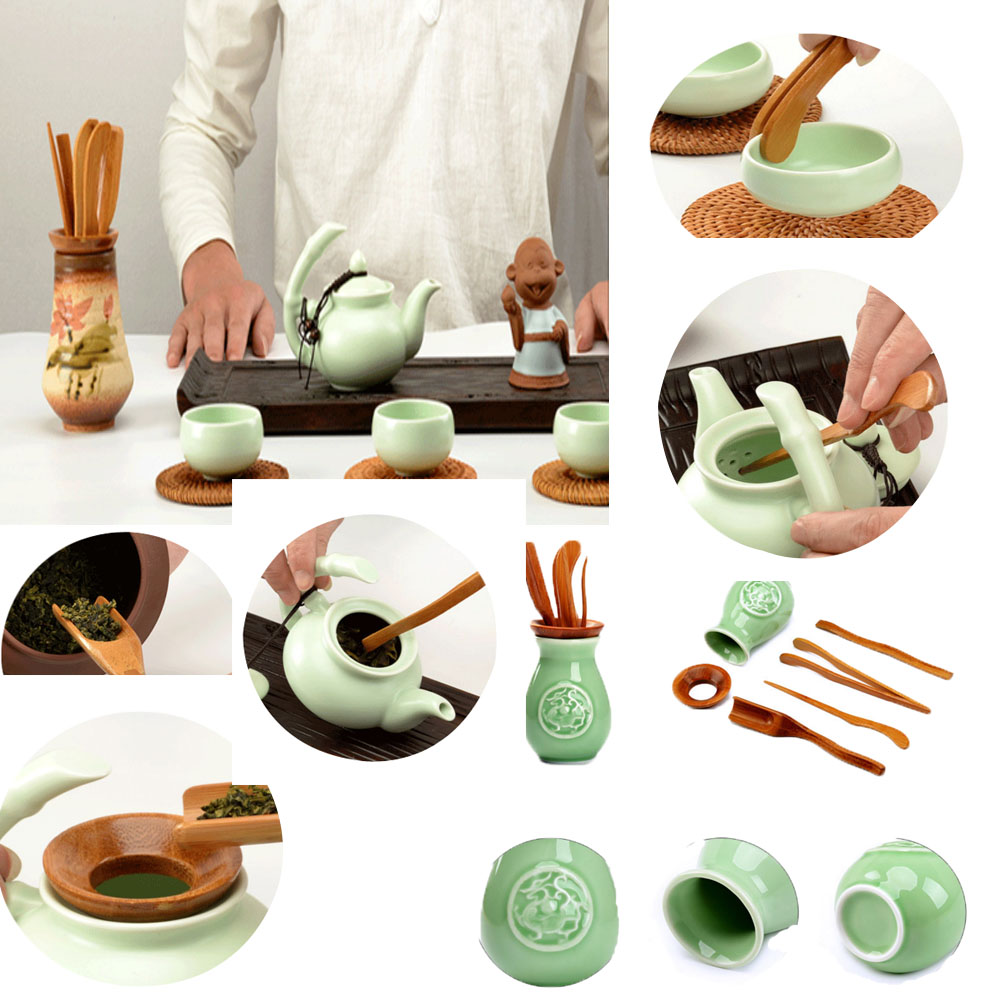 New Kung Fu Tea Set Accessories Fdit 6 Sets Of Chinese-style Natural Tea Ceremony Trumpet